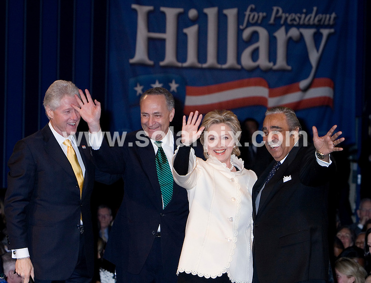 **ALL ROUND PICTURES FROM SOLARPIX.COM**.**SYNDICATION RIGHTS FOR UK, SPAIN, POTUGAL, AUSTRALIA, S.AFRICA & DUBAI (U.A.E) ONLY**.Bill Clinton and Hillary Clinton at the Hillary for President Celebratory Dinner at the Sheraton Hotel in New York in the USA held on the 18_03_07..This pic:Hillary Rodham Clinton Hillary Clinton BIll Clinton Senator Chuck Schumer Charles Rangel .JOB REF:3537-PHZ    DATE:18_03_07 .**MUST CREDIT SOLARPIX.COM OR DOUBLE FEE WILL BE CHARGED* *UNDER NO CIRCUMSTANCES IS THIS IMAGE TO BE REPRODUCED FOR ANY ONLINE EDITION WITHOUT PRIOR PERMISSION*