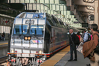 NJ Transit trains arrive for now at Newark Penn Station in Newark, NJ on Friday, March 11, 2016. Negotiations are underway to prevent a strike by NJ Transit workers on Sunday, March 13 at 12:01AM. On Monday 160,000 riders  who use the rail system on a weekday will have to contend with contingency plans that can only accommodate 40 percent of them.  (© Richard B. Levine)