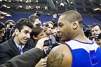 16.01.2013 London, England. New York Knicks forward Carmelo Anthony (7) talks to the media during team practice ahead of the NBA London Live 2013 game between the Detroit Pistons and the New York Knicks from The O2 Arena