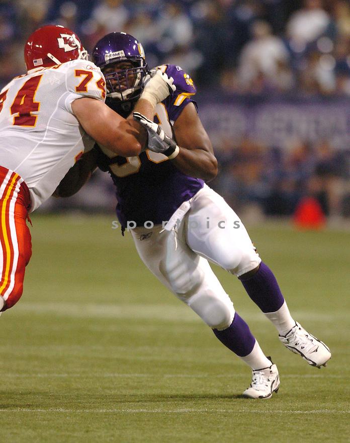 Erasmus James, of the Minnesota Vikings, during the Kansas City Chiefs v. Minnesota Vikings game on August 12, 2005...Vikings win 27-16..SportPics