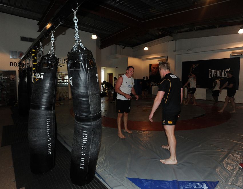 Photo: Tony Oudot/Richard Lane Photography. London Wasps train at the Hooks Gym in Acton. 12/03/2012. Wasps wrestle.