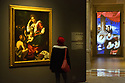L'Ultimo Caravaggio, eredi e nuovi maestri (Last Caravaggio, Heirs and new Masters) exhibition at Gallerie d'Italia, Intesa Sanpaolo Museum, in Milan on November 30, 2017. In the picture (left) Madonna con il bambino e San Giovannino, oil on canvas by Bernardo Strozzi. © Carlo Cerchioli
