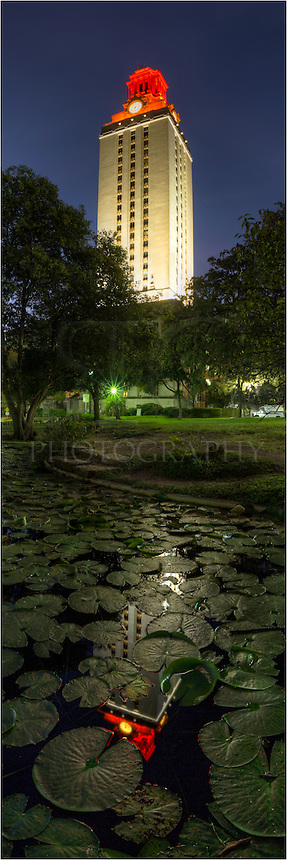 From the North Mall on the University of Texas campus, this is the UT Tower lit orange. This panorama was a stitch of several images in order to show the scale as well as the partial reflection in the coy pond below the base.