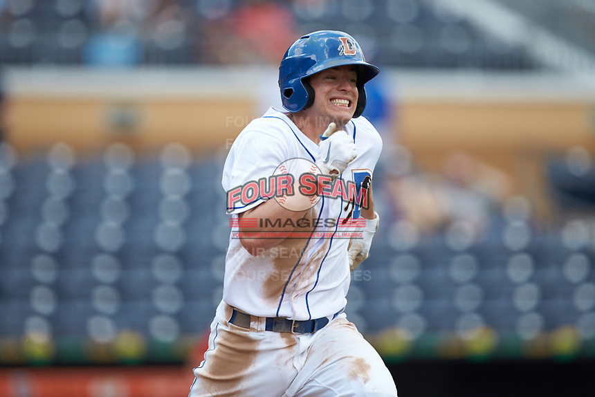 Nick Solak (3) of the Durham Bulls hustles down the first base line against the Columbus Clippers at Durham Bulls Athletic Park on June 1, 2019 in Durham, North Carolina. The Bulls defeated the Clippers 11-5 in game one of a doubleheader. (Brian Westerholt/Four Seam Images)