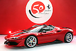 "December 13, 2016, Tokyo, Japan - Italian sports car maker Ferrari displays the new vehicle ""Ferrari J50"" at the world premier in Tokyo on Tuesday, December 13, 2016 to celebrate Ferrari's 50th anniversary in Japan. Ferrari J50 has 3.9-litter V8 turbo charged engine to drive roadster body.  (Photo by Yoshio Tsunoda/AFLO) LWX -ytd-"