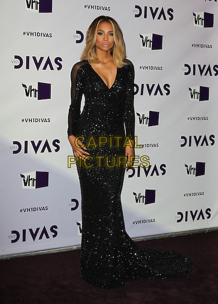 Ciara (Ciara Princess Harris).VH1 Divas 2012 held at The Shrine Auditorium, Los Angeles, California, USA..December 16th, 2012.full length dress sheer sleeves sequins sequined low cut v-neck black  .CAP/ADM/KB.©Kevan Brooks/AdMedia/Capital Pictures.