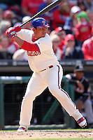Philadelphia Phillies catcher Carlos Ruiz #51 during their home opener against the Miami Marlins at Citizens Bank Park on April 9, 2012 in Philadelphia, Pennsylvania.  Miami defeated Philadelphia 6-2.  (Mike Janes/Four Seam Images)