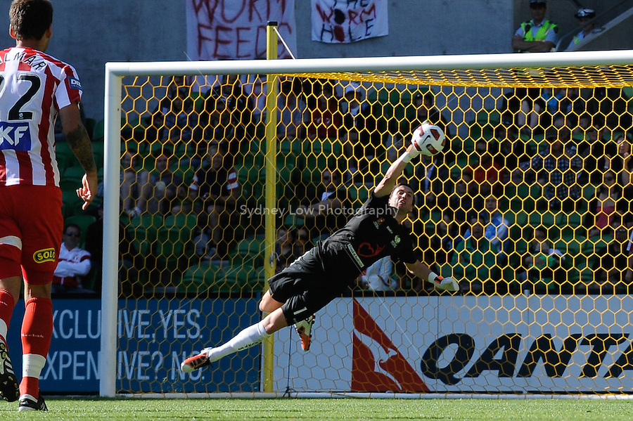 MELBOURNE, AUSTRALIA - January 2:  Justin Pasfield of the Fury jumps to save a goal during the round 21 A-League match between Melbourne Heart and North Queensland Fury at AAMI Park on January 2, 2011 in Melbourne, Australia. (Photo by Sydney Low / Asterisk Images)