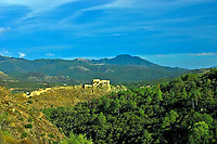 Corsica, Town of Corte, the citadel and defensive walls seen from the west. Capital of Nation Corse. Political capital. France..