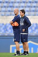 Attilio Lombardo and Roberto Mancini coach of Italy <br /> Roma 11-10-2019 Stadio Olimpico <br /> European Qualifiers Qualifying round <br /> Italy - Greece day -1 training<br /> Photo Andrea Staccioli/Insidefoto