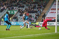 Amari'i Bell of Fleetwood Town scores his side's second goal during the Sky Bet League 1 match between Plymouth Argyle and Fleetwood Town at Home Park, Plymouth, England on 7 October 2017. Photo by Mark  Hawkins / PRiME Media Images.