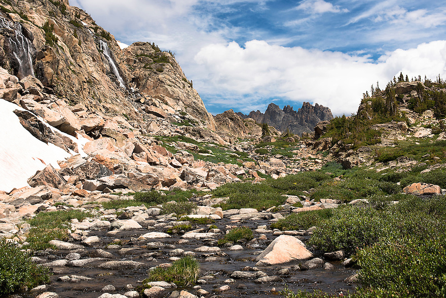 The Spires are seen between Upper Aero and Lower Aero Lake in the Absaroka-Beartooth Wilderness.
