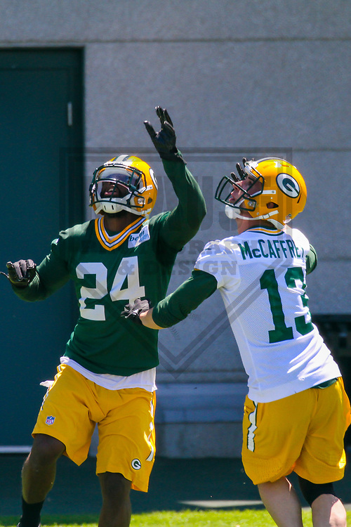 Green Bay Packers cornerback Quinten Rollins (24) and wide receiver Max McCaffrey (13) during an OTA on June 6, 2017 at Clarke Hinkle Field in Green Bay, Wisconsin. (Brad Krause/Krause Sports Photography)