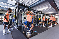(L-R) Nathan Dyer, Kyle Bartley and other players exercise in the gym  during the Swansea City Training Session at The Fairwood Training Ground, Wales, UK. Tuesday 03 July 2018
