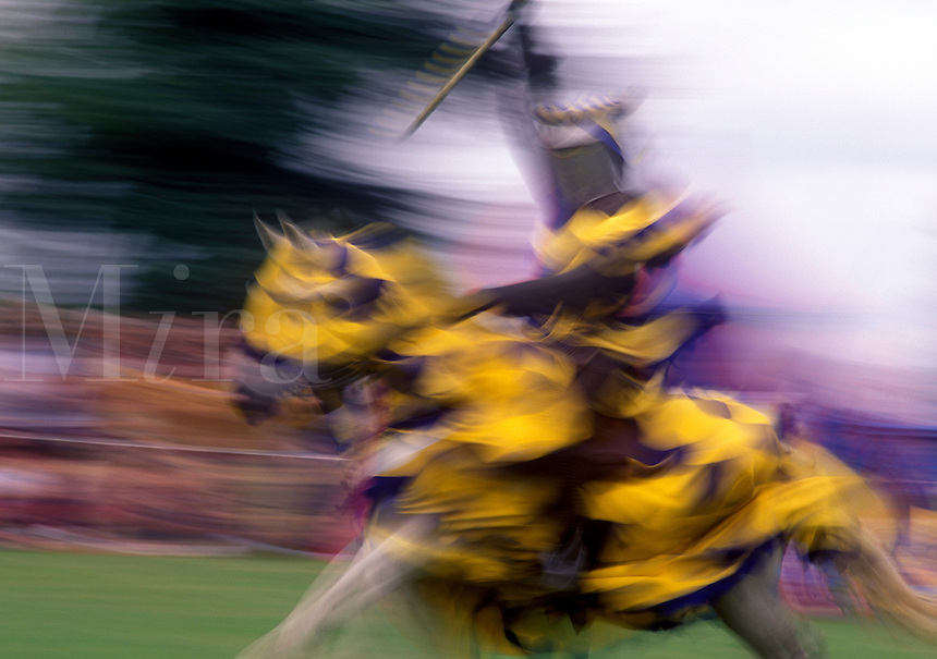 Jousting knight on horseback.  Motion blur.  Hever Castle,  Kent, England, UK