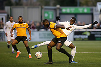 Saikou Janneh of Torquay tackles Maidstone's George Elokobi during Maidstone United vs Torquay United, Emirates FA Cup Football at the Gallagher Stadium on 9th November 2019