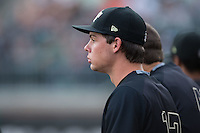 Bruce Steel (17) of the Wake Forest Demon Deacons watches the action from the dugout during the game against the Charlotte 49ers at Hayes Stadium on March 16, 2016 in Charlotte, North Carolina.  The 49ers defeated the Demon Deacons 7-6.  (Brian Westerholt/Four Seam Images)