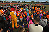 Ronald McDonald greets children before the start of the Long Island Marathon Weekend's Kids Fun Run at Mitchel Athletic Complex on Saturday, Apr. 30, 2016.