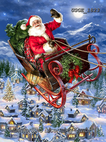 Dona Gelsinger, CHRISTMAS SANTA, SNOWMAN, WEIHNACHTSMÄNNER, SCHNEEMÄNNER, PAPÁ NOEL, MUÑECOS DE NIEVE, paintings+++++,USGE1823,#x#,sledge,flying