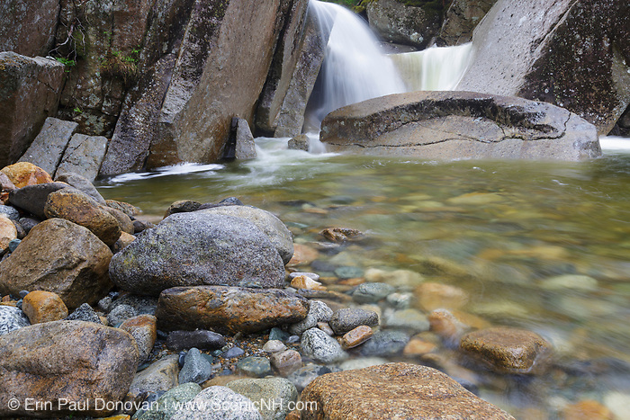 A small cascade on Little River, just off of the North Twin Trail, in Bethlehem, New Hampshire during the spring months. This area is part of the White Mountain National Forest.