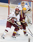 Tim Kunes (BC - 6), Jay Barriball (Minnesota - 26), John Muse (BC - 1) - The Boston College Eagles defeated the University of Minnesota Golden Gophers 5-2 on Saturday, March 29, 2008, in the NCAA Northeast Regional Semi-Final at the DCU Center in Worcester, Massachusetts.