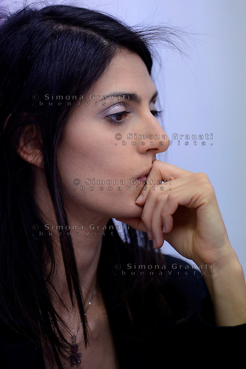 Roma, 6 Maggio 2016<br /> Virginia Raggi nella sede della UIL per rispondere a sei domande che il sindacato fa ad ogni candidato<br /> ROME, ITALY - May 06: <br /> Virginia Raggi, candidate for mayor of Rome for the 5 Star Movementi, n the headquarters of the UIL  Union, to answer six questions that the union makes all candidates