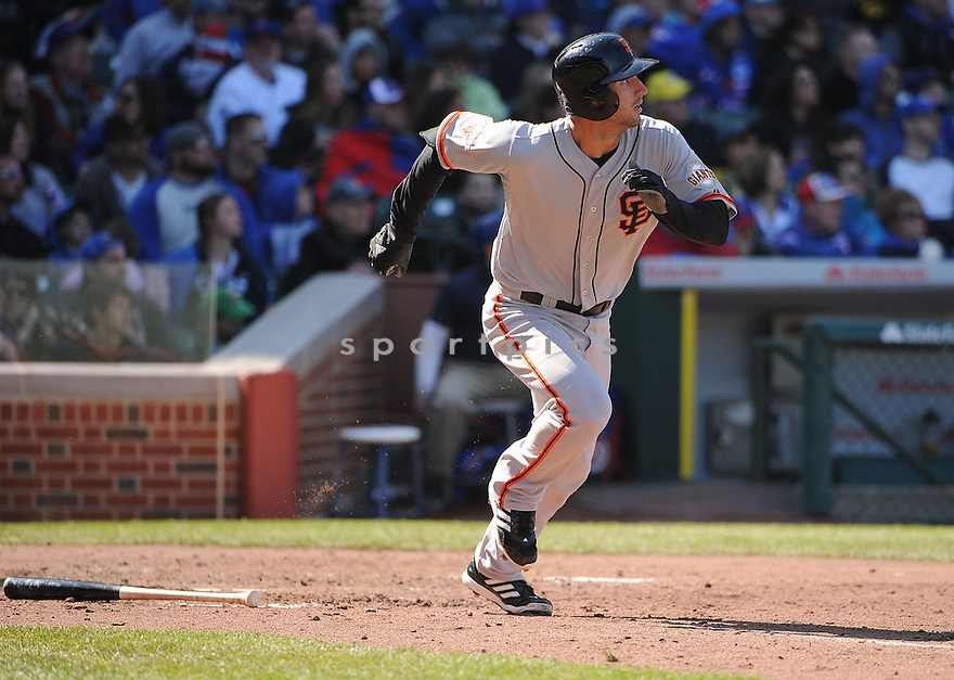San Francisco Giants Nick Noonan (21) during a game against the Chicago Cubs on April 14, 2013 at Wrigley Field in Chicago, IL. The Giants beat the Cubs 10-7.
