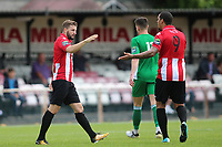 Brad Warner of Hornchurch celebrates his first goal for the club  during AFC Hornchurch vs Soham Town Rangers, Bostik League Division 1 North Football at Hornchurch Stadium on 12th August 2017
