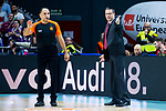 Kirolbet Baskonia coach Pedro Martinez talking with the referee during Turkish Airlines Euroleague match between Real Madrid and Kirolbet Baskonia at Wizink Center in Madrid, Spain. October 19, 2018. (ALTERPHOTOS/Borja B.Hojas)