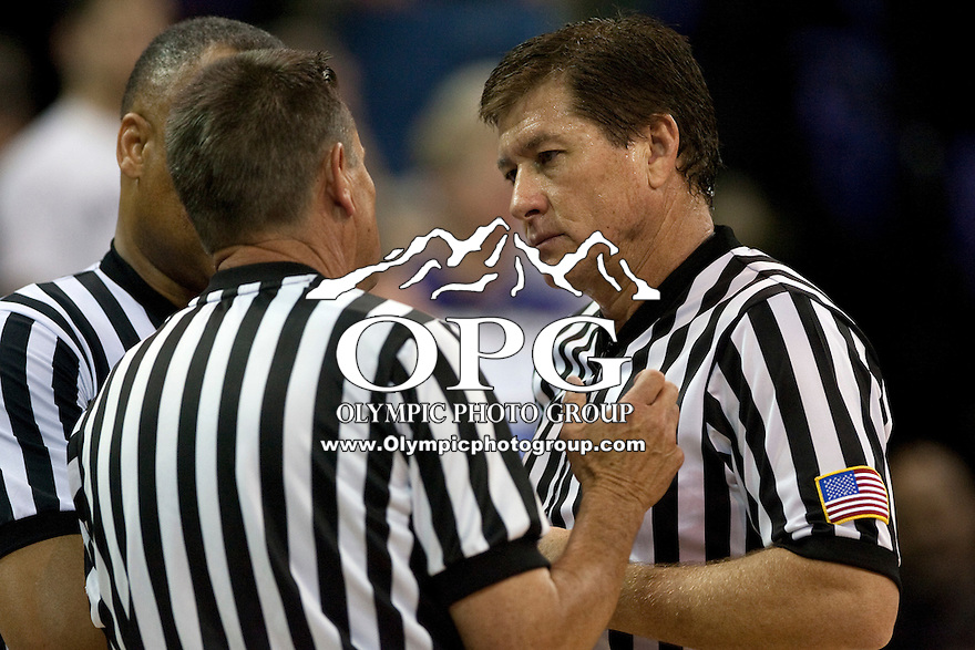 Feb 2, 2012:  NCAA basketball official Tony Padilla was on hand for the game between Washington and UCLA.  Washington defeated UCLA 71-69 at Alaska Airlines Arena Seattle, Washington...