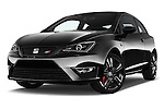 Stock pictures of low aggressive front three quarter view of 2016 Seat Ibiza-SC Cupra 5 Door Hatchback Low Aggressive