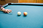 Pool table with cue, cue ball, balls