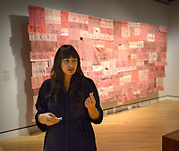 NWA Democrat-Gazette/ANDY SHUPE<br /> Independent curator Candice Hopkins speaks Thursday, Oct. 4, 2018, in front of a piece titled, &quot;Companion Species (Calling All My Relations)&quot; by artist Marie Watt during a tour of a new exhibition of artwork by Native American artists at Crystal Bridges Museum of American Art in Bentonville. The exhibition, titled &quot;Art for a New Understanding: Native Voices, 1950s to Now,&quot; opens today and runs through Jan. 7, 2019.