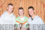 ..TROPHY: Alan Sheehy Cunningham, James O'Sullivan and Paudie Sheehy Cunningham who were presented with their under 14 Multi Culture Soccer Awards on Wednersday night in the Meadowland Hotel, Tralee.....