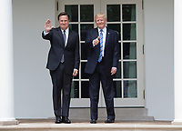 United States President Donald J. Trump and President Juan Carlos Varela of Panama greet the press outside the Oval Office at the White House in Washington, DC on June 19, 2017.  <br /> Credit: Molly Riley / Pool via CNP /MediaPunch
