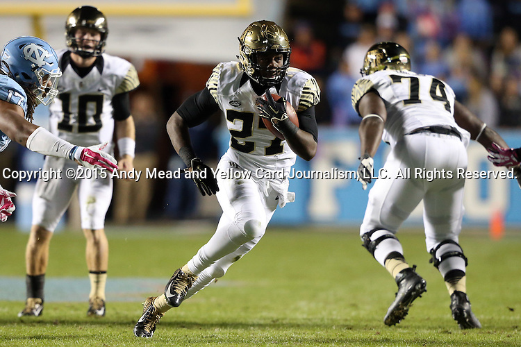 17 October 2015: Wake Forest's Tyler Bell (27). The University of North Carolina Tar Heels hosted the Wake Foresst University Demon Deacons at Kenan Memorial Stadium in Chapel Hill, North Carolina in a 2015 NCAA Division I College Football game. UNC won the game 50-14.