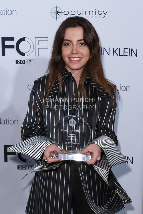 Graduating student Selen Sahin, won the Isabella Tonchi Critic Award, during the Future of Fashion 2017 runway show at the Fashion Institute of Technology on May 8, 2017.