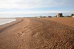 The coastal hamlet of Shingle Street seen from the beach, Suffolk, England