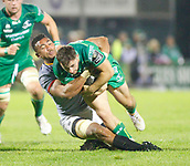 9th September 2017, Galway Sportsground, Galway, Ireland; Guinness Pro14 Rugby, Connacht versus Southern Kings; Bobby de Wee (Southern Kings) stops Caolin Blade (Connacht)
