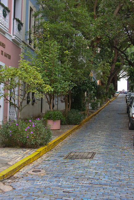 Street with blue cobblestones. Old San Juan, PR