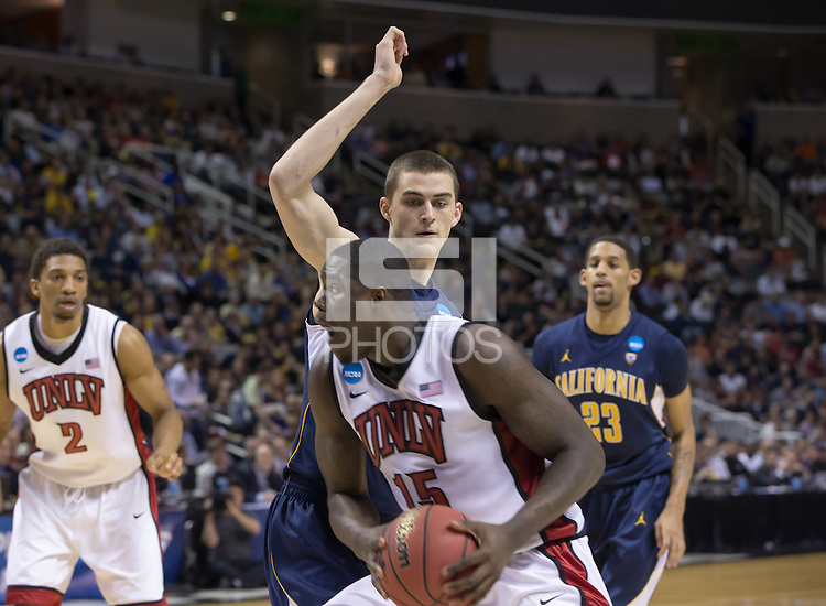 March 21st, 2013: California's David Kravish defending UNVL's Anthony Bennett during a game at HP Pavilion, San Jose, California. California defeated UNLV 64 - 61