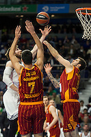 Real Madrid´s Andres Nocioni and Galatasaray´s Erceg and Micov during 2014-15 Euroleague Basketball match between Real Madrid and Galatasaray at Palacio de los Deportes stadium in Madrid, Spain. January 08, 2015. (ALTERPHOTOS/Luis Fernandez) /NortePhoto /NortePhoto.com