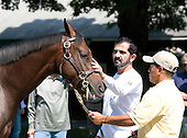 Sheikh Mohammed, ruler of Dubai, visits the Fasig Tipton Saratoga sales pavilion on Sunday, Aug. 1, 2010.