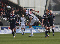Sam Parkin heads towards goal in the St Mirren v Ross County Clydesdale Bank Scottish Premier League match played at St Mirren Park, Paisley on 19.1.13.
