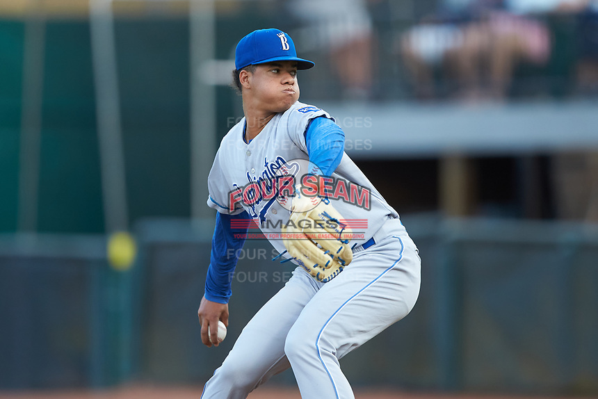 Burlington Royals starting pitcher Delvin Capellan (37) in action against the Pulaski Yankees at Calfee Park on September 1, 2019 in Pulaski, Virginia. The Royals defeated the Yankees 5-4 in 17 innings. (Brian Westerholt/Four Seam Images)