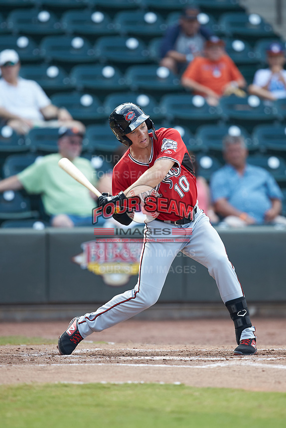 Zach Clark (10) of the Carolina Mudcats at bat against the Winston-Salem Dash at BB&T Ballpark on June 1, 2019 in Winston-Salem, North Carolina. The Mudcats defeated the Dash 6-3 in game one of a double header. (Brian Westerholt/Four Seam Images)