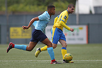 Georgios Aresti of Haringey and Jett Hogan of Stanway during Haringey Borough vs Stanway Rovers, Emirates FA Cup Football at Coles Park Stadium on 25th August 2018