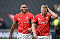 Billy Vunipola of Saracens is all smiles after the match. Aviva Premiership match, between Northampton Saints and Saracens on April 16, 2017 at Stadium mk in Milton Keynes, England. Photo by: Patrick Khachfe / JMP