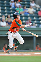 Third baseman Brian Schales (43) of the Greensboro Grasshoppers bats in a game against the Greenville Drive on Thursday, August 27, 2015, at Fluor Field at the West End in Greenville, South Carolina. Greenville won, 10-2.  (Tom Priddy/Four Seam Images)