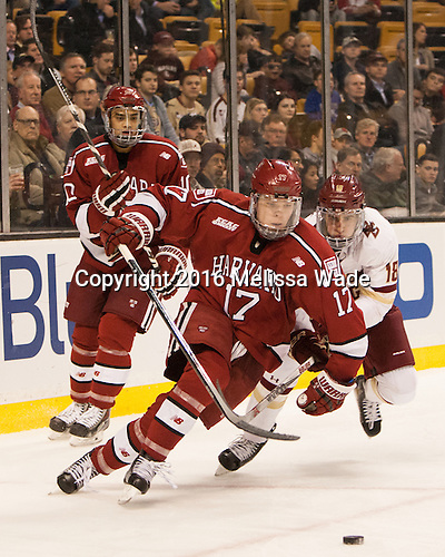 Brayden Jaw (Harvard - 10), Sean Malone (Harvard - 17), Colin White (BC - 18) - The Boston College Eagles defeated the Harvard University Crimson 3-2 in the opening round of the Beanpot on Monday, February 1, 2016, at TD Garden in Boston, Massachusetts.